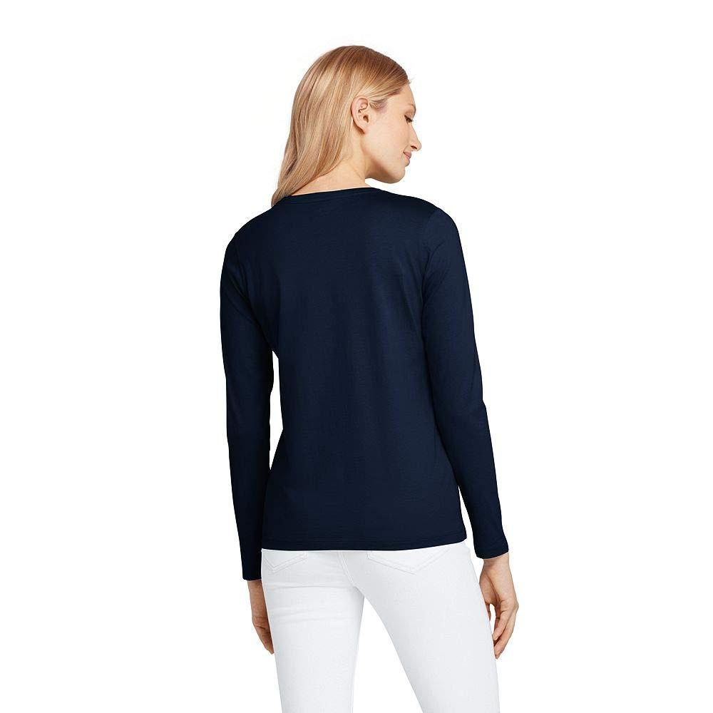 c77258e8a4085 Amazon.com  Lands  End Women s Supima Cotton Long Sleeve T-Shirt - Relaxed  Crewneck  Clothing