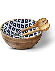 Salad Bowls with Salad-Servers, Wooden-Bowls for Serving-Salad, 12-Inch