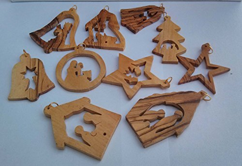 10 Christian Nativity Story Christmas Olive Wood Ornaments from Israel by Bethlehem Gifts TM