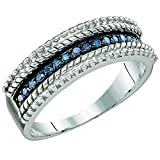 0.23 Carat (ctw) Sterling Silver Round Blue Diamond Ladies Anniversary Ring Wedding Band
