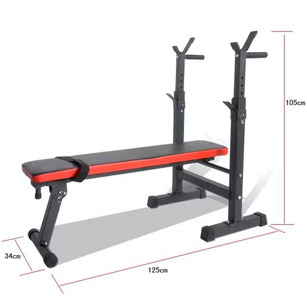 Homgrace Panca per Sollevamento Pesi Pieghevole Panca Fitness Multifunzionale con Porta Bilanciere Regolabile Allenamento Muscolare in Casa Palestra