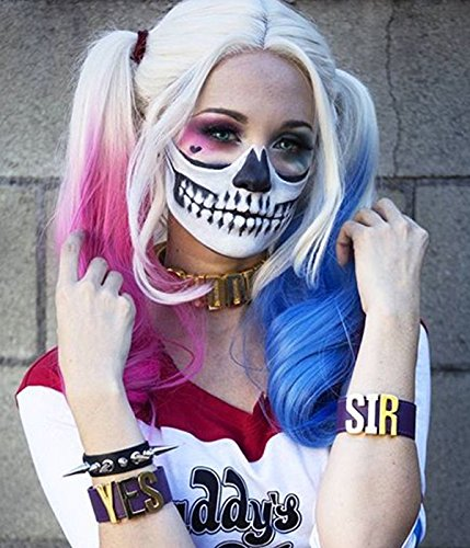 UniWigs Comic Harley Quinn Synthetic Lace Front Wig Mixed Color Blue and Pink Ombre Color Long Wavy Wig