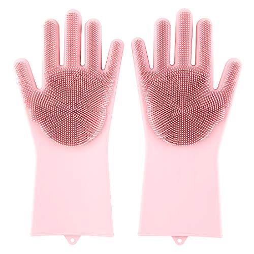 Magic Saksak Silicone Gloves Dishwashing gloves with Cleaning Brush Scrubber, Reusable Brush Silicone Scrubber Heat Resistant Gloves for Cleaning, Household, Washing Car, Pet Hair Care (Pink)