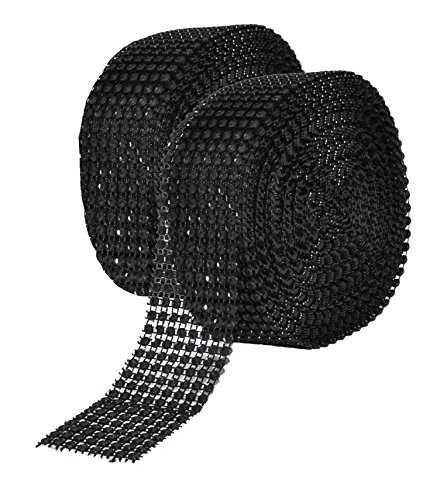 Mandala Crafts Faux Diamond Bling Wrap, Faux Rhinestone Crystal Mesh Ribbon Roll for Wedding, Party, Centerpiece, Cake, Vase Sparkling Decoration (1.5 Inches 8 Rows 20 Yards, Black)