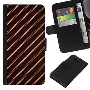 KingStore / Leather Etui en cuir / Samsung ALPHA G850 / Patrón de rayas Tejido Dise?o Textil de Brown