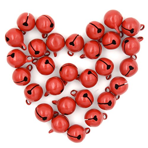 CoscosX 30 Pcs Mini Red Jingle Bells DIY Arts Crafts Jewelry Making Supplies Home Christmas Festival Decorations