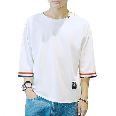 e26a27c5f73891 Amazon | 夏服 メンズ Tシャツ 半袖 Tシャツ 五分袖 七分袖 カジュアル ...