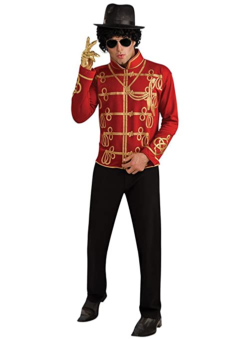 Chaqueta de Michael Jackson Militar roja para adulto - L: Amazon ...