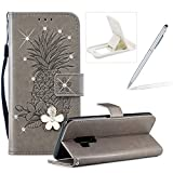 Strap Leather Case for Galaxy S9 Plus,Diamond Wallet Cover for Galaxy S9 Plus,Herzzer Stylish 3D Crystal Flower Gray Pineapple Print Magnetic Stand Case with Soft TPU