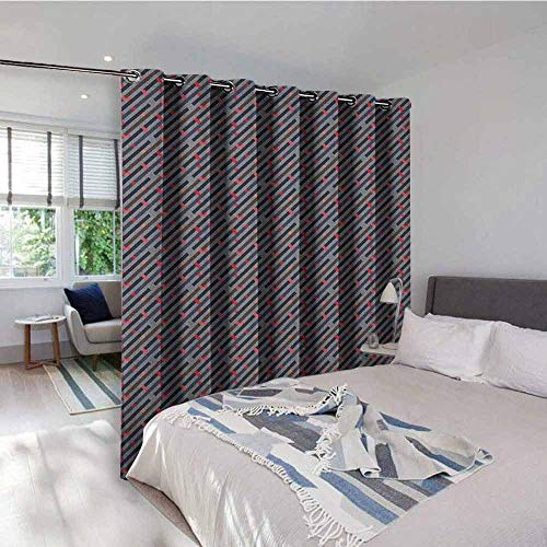 Geometric 3D Printed Pattern Gromets Curtain Living Room Drapes , Diagonal Strips Lines and Rectangles Pastel Colored Labyrinth Theme Hipster Style Room Darkening Curtains, Multicolor, W120 x L108 In (Labyrinth Of Echo)