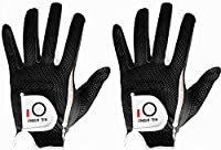 Men's Golf Glove Rain Grip Pair both hand or 2 Pack Left Right Hand, Hot Wet Weather No Sweat, Black Gray Green, Fit Size Small Medium Large XL, By Finger Ten