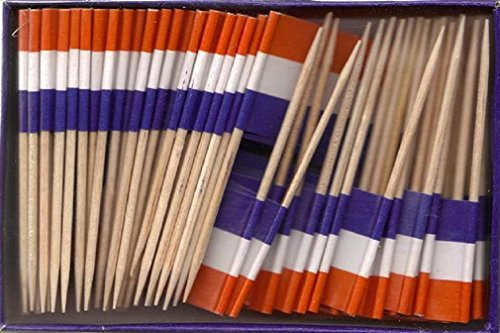 25 Box Wholesale Lot of Netherlands Toothpick Flags, 2500 Small Mini Dutch Flag Cupcake Toothpicks or Cocktail Picks ()