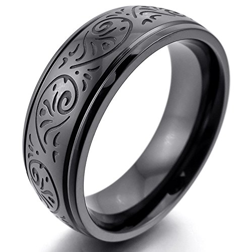 MENDINO Mens Stainless Steel Ring Engraved Florentine Design Charm 8mm Band Black