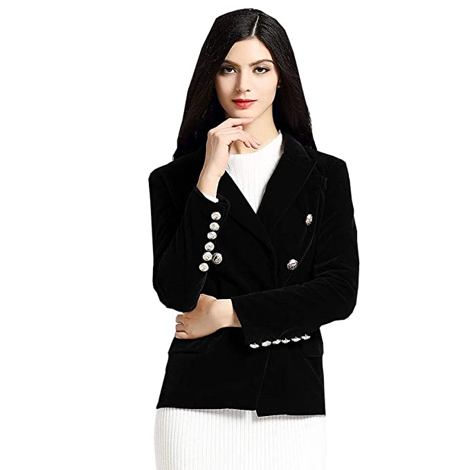 bc6d0859d4e KoHuiJoo Long Sleeve Velvet Blazer Women Button Work Jacket Ladies Lapel  Coat (Black