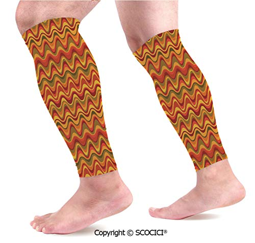 Flexible Breathable Comfortable Leg Skin Protector Sleeve Desert Dune Pattern Abstract Design Warm Color Palette Funky Old School Art Style Decorative Calf Compression - Dune Pattern