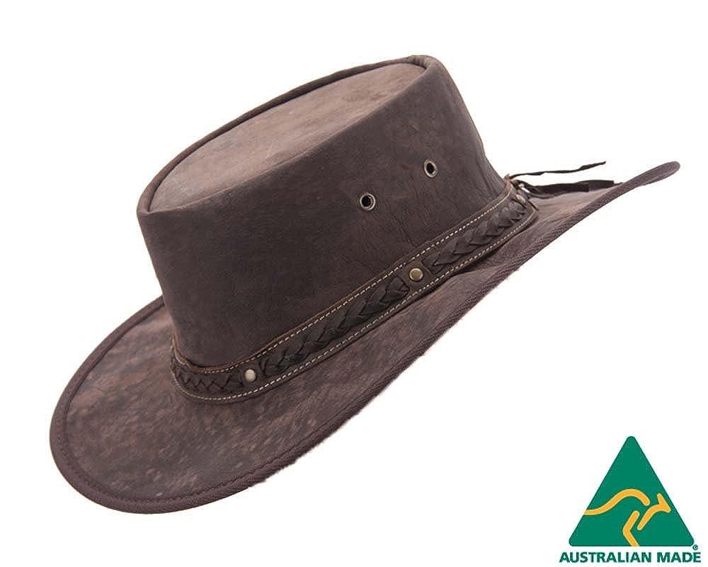 Real Australian Kangaroo Leather Hat. Original Hat-in-a-Bag. Made in Australia. Brown Barmah