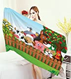 Cartoon Bathroom Towels Cute Farm Animals on the Fence Comic Mascots with Dog Cow Horse for Kids Decor Bath Pool Shower Towel for Kids Multi