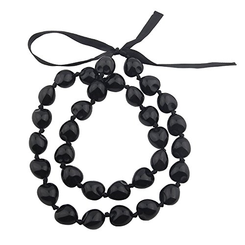 KUIYAI Hawaiian Kukui Nut Necklace with Chunky Heart-Shaped Beads Ribbon Tie Closure (Black)