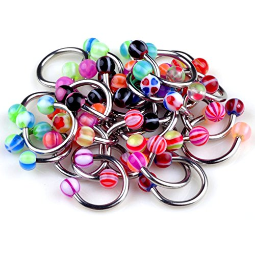 Circular Barbell Body Jewelry (Yantu Unisex 50pcs 18g Ball Circulars Horseshoes Eyebrow Lip Belly Rings Body Piercing Jewelry)