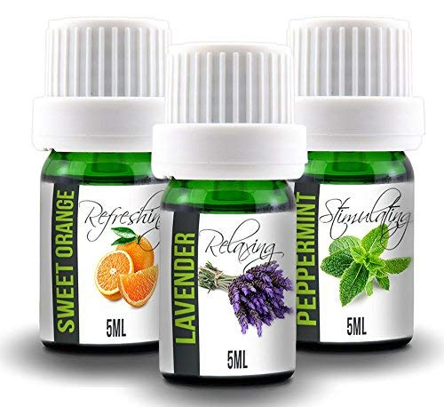 Aroma2Go Essential Oils Set, 100% Pure Undiluted, Therapeutic Grade, Plant Based in 5ML Peppermint, Lavender, Sweet Orange (Starter Pack)