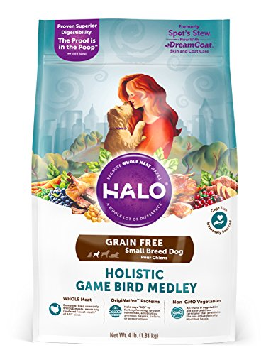 Halo Grain Free Natural Dry Dog Food, Small Breed Game Bird Medley, 4-Pound Bag (Halo Dog Food Grain Free)