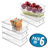 deep freezer shelves - mDesign Large Stackable Kitchen Storage Organizer Bin with Pull Front Handle for Refrigerators, Freezers, Cabinets, Pantries - BPA Free, Food Safe - Deep Rectangle Tray Basket, Pack of 6, Clear