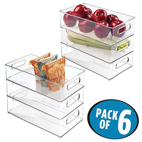 mDesign Refrigerator, Freezer, Pantry Cabinet Organizer Bins for Kitchen - Pack of 6, 8' x 4' x 14.5', Clear