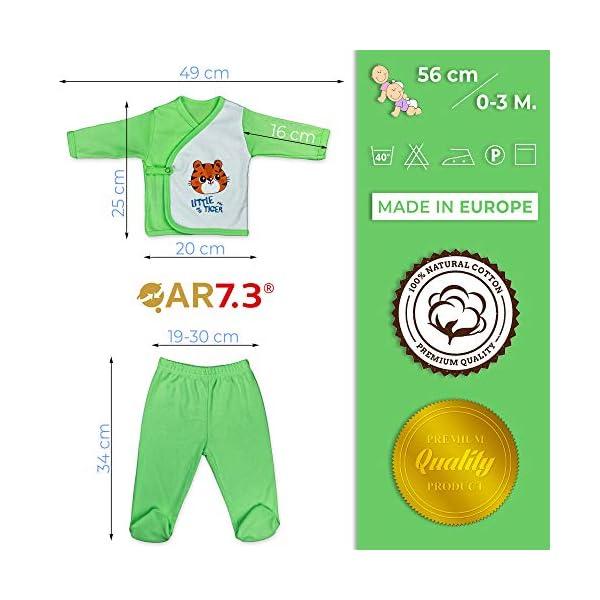 QAR7.3 Completo Vestiti Neonato 0-3 mesi - Set Regalo, Corredino da 5 pezzi: Body, Pigiama, Bavaglino e Cuffietta (Verde… 3