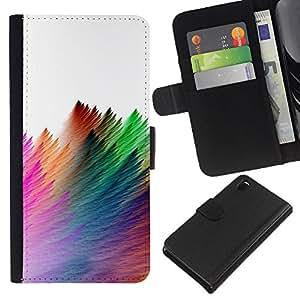 Funda Stuss/funda de piel sintética con tapa–Strokes Colorful Feather White–Sony Xperia Z3D6603