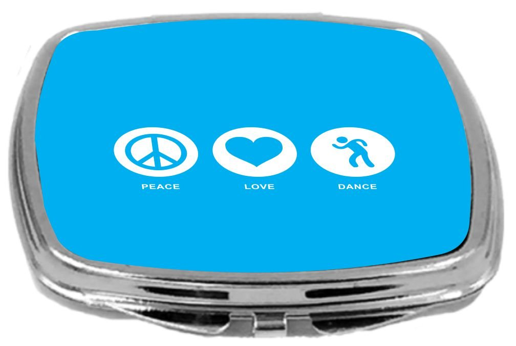 Rikki Knight Peace Love Dance Design Compact Mirror, Sky Blue, 2 Ounce