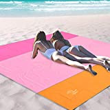 OCOOPA Sand Free Beach Blanket 10X 9ft Extra Large, Soft Pocket Picnic Blanket, Waterproof Outdoor Family Mat for Beach, Camping, Hiking, Music Festival, Machine Washable, Pink