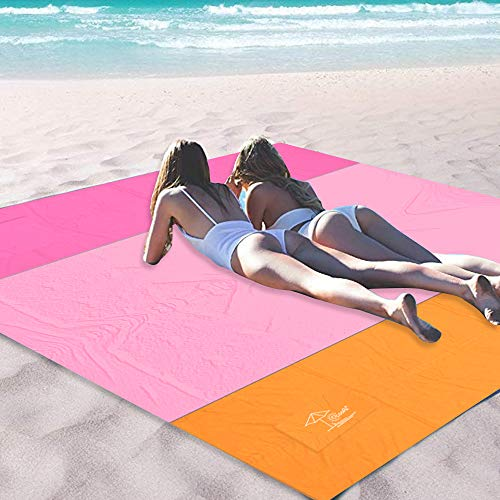 OCOOPA Sand Free Beach Blanket 10X 9ft Extra Large, Soft Pocket Picnic Blanket, Waterproof Outdoor Family Mat for Beach, Camping, Hiking, Music Festival, Machine Washable, Pink ()