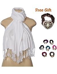Elegant Pashmina Silk Blend Soft Wrap Scarf Shawl for Women - 30+ Solid Colors