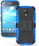 JKase DIABLO Series Tough Rugged Dual Layer Protection Case Cover with Build in Stand for Samsung Galaxy S4 Mini i9190 - Retail Packaging (Blue)