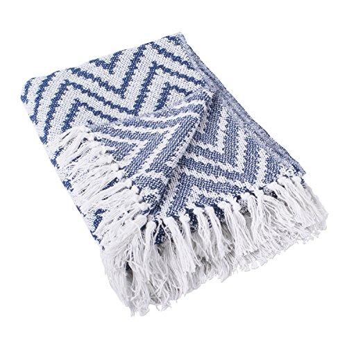 DII 100% Cotton Chevron Herringbone Throw for Indoor/Outdoor Use Camping BBQs Beaches Everyday Blanket - 50 x 60, Large Chevron Nautical Blue