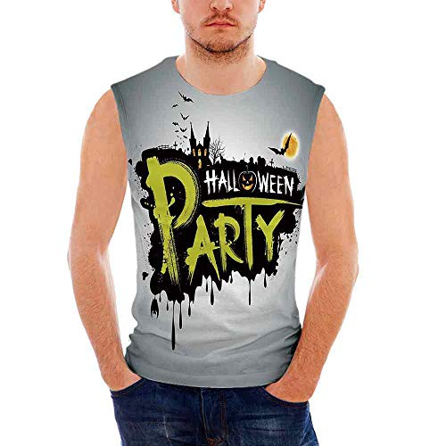 Mens Sleeveless Halloween Heavy Cotton H D,Halloween Party Hand Drawn Brushstrok