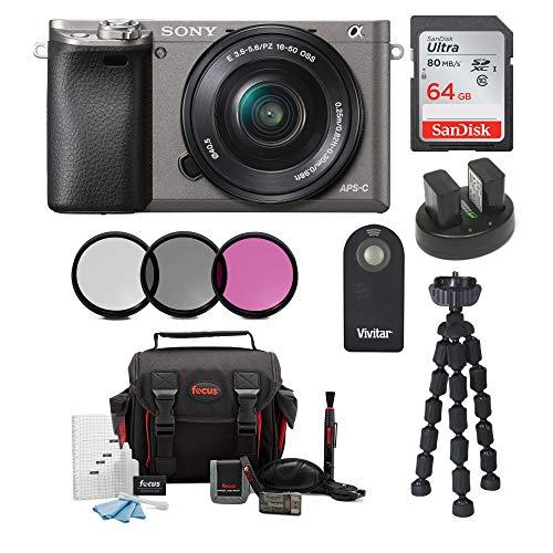 Sony Alpha a6000 Camera w/ 16-50mm Lens and 64GB SD Card Bundle ()