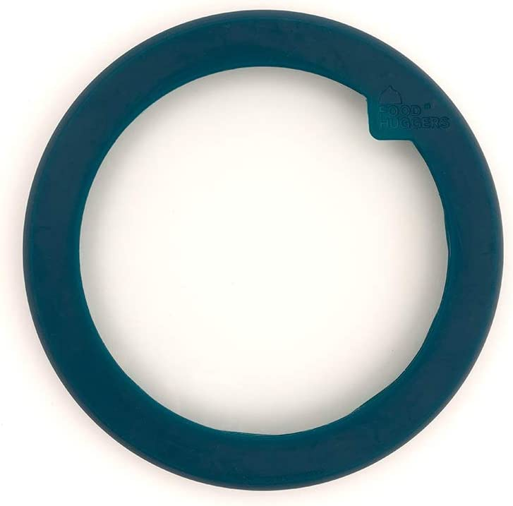 Food Huggers Flexible Stackable Silicone & Glass Bowl Lid (L, TEAL)