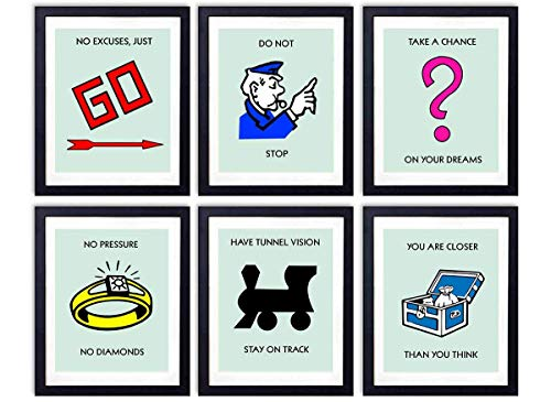 Motivational Monopoly Wall Art Prints- Set of 6 Photos (8x10) - Unframed- Great Gift For Graduation, Kids and Game Rooms, Office and Home Decor