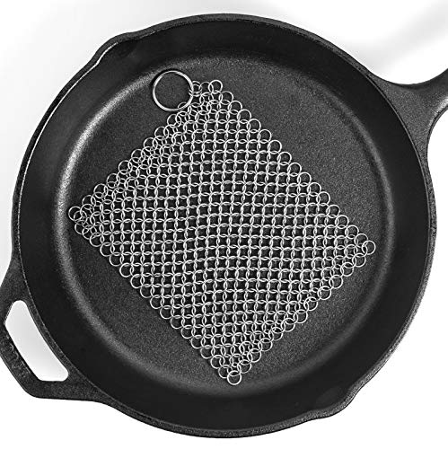 Ationgle 8 X6 Stainless Steel Cast Iron Cleaner 316l Chainmail Scrubber For Cast Iron Pan Pre Seasoned Pan Dutch Ovens Waffle Iron Pans