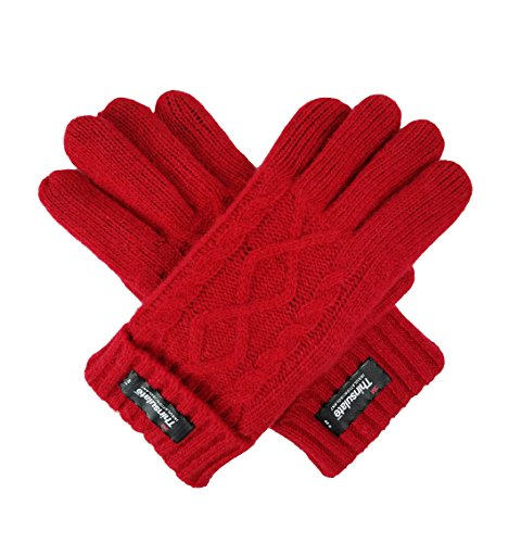 Bruceriver Women's Pure Wool Knitted Gloves with Thinsulate lining and Diamond Design Size L (Red) by BRUCERIVER