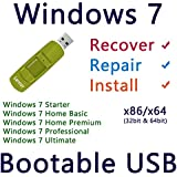 Windows 7 SP1 Bootable Install, Repair and Recovery 8GB USB - All Editions x86 x64 [Not DVD / CD]