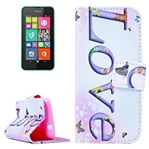 Cross Texture Love Pattern Leather Case with Holder & Card Slot & Wallet for Nokia Lumia 530