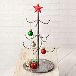 CTW Home Collection Mini Metal Ornament Christmas Tree Display Stand and Jewelry Organizer – Ornament Stand and Jewelry Stand Decor Features 10 Hooks, The Perfect Decoration Addition to Any Room