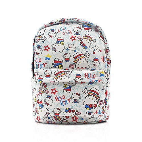 47a0c09661cb Finex Hello Kitty Pattern White Canvas Cute Cartoon Casual Backpack with 15  inch Laptop Storage Compartment