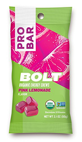 PROBAR - BOLT Organic Energy Chews, Pink Lemonade, 12 Count - USDA Organic, Gluten-Free, Fast Fuel Gummies