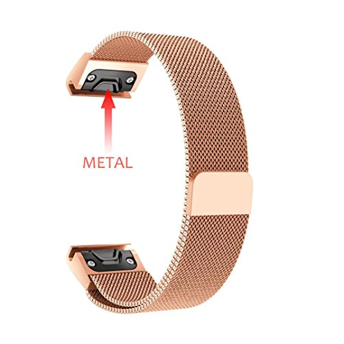 Outsta for Garmin Fenix 5 Plus Watch Band Wrist, New Milanese Magnetic Loop Stainless Steel Band Accessories Watch Bracelet Band Women Men (Rose Gold)