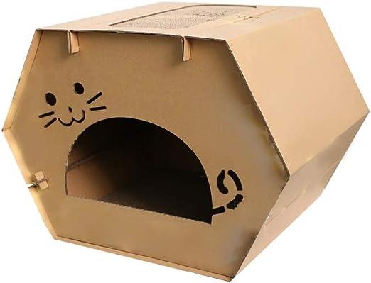 Caja de cartón de la casa del gato, placa for rascar el gato, el gatito for mascotas puede perforar agujeros, placa de agarre de material corrugado de autoensamblaje for interiores, suministros de