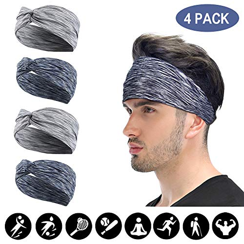 - 4 Pack Women Girls Headband mens Headband Fashion Criss Cross Head Wrap Hair Band Bow Wired Stretchy Headwraps Yoga Running Hairband Sports Bow Knotted Flower Shower Headbands (Color group 3)