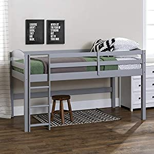 Walker Edison Furniture Company Classic Wood Twin Low Loft Bunk Kids Bed Bedroom with Guard Rail and Ladder Easy Assembly, Grey 20